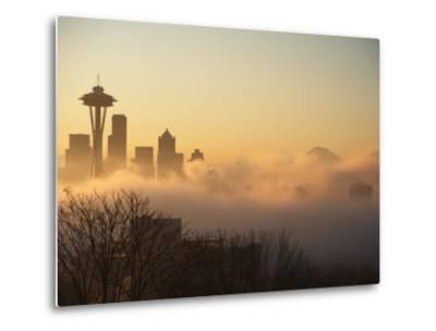 Morning Fog around Skyline with Sihouette of Space Needle and City Buildings-Aaron McCoy-Metal Print