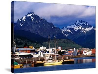 Yachts Docked on Waterfront, City and Mountains-Richard l'Anson-Stretched Canvas Print