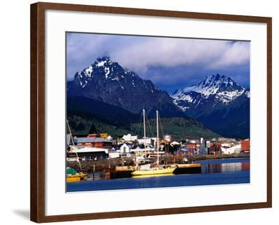 Yachts Docked on Waterfront, City and Mountains-Richard l'Anson-Framed Photographic Print