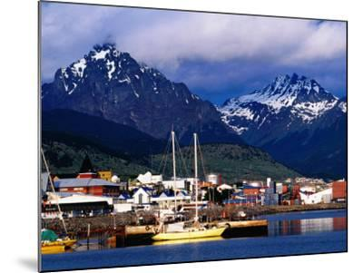 Yachts Docked on Waterfront, City and Mountains-Richard l'Anson-Mounted Photographic Print