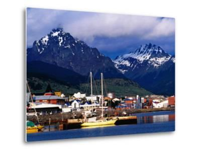 Yachts Docked on Waterfront, City and Mountains-Richard l'Anson-Metal Print