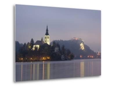 Baroque Church of Assumption on Bled Island with Renaissance Bled Castle-Richard Nebesky-Metal Print