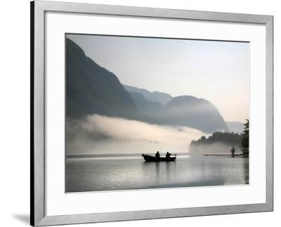 Two Fishermen in Boat on Lake Bohinj (Bohinjsko Jezero)-Ruth Eastham & Max Paoli-Framed Photographic Print