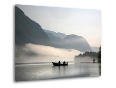 Two Fishermen in Boat on Lake Bohinj (Bohinjsko Jezero)-Ruth Eastham & Max Paoli-Metal Print
