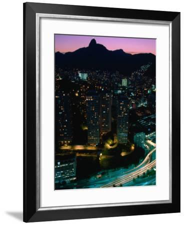View over Praca (Square) Juliano Sodre in Rio at Night-Tom Cockrem-Framed Photographic Print