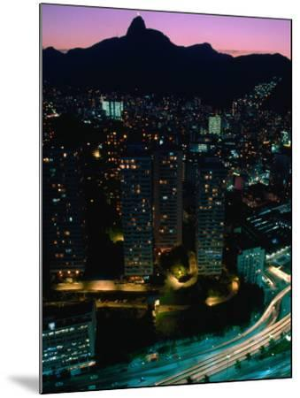 View over Praca (Square) Juliano Sodre in Rio at Night-Tom Cockrem-Mounted Photographic Print