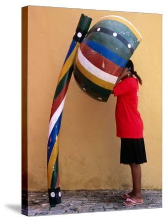 Telephone Booth in Shape of Sounding Gourd of Berimbau (Capoeira Instrument)-Rick Gerharter-Stretched Canvas Print