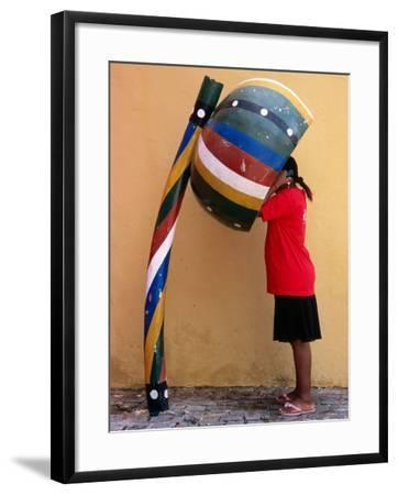 Telephone Booth in Shape of Sounding Gourd of Berimbau (Capoeira Instrument)-Rick Gerharter-Framed Photographic Print