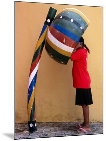 Telephone Booth in Shape of Sounding Gourd of Berimbau (Capoeira Instrument)-Rick Gerharter-Mounted Photographic Print