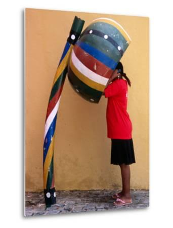 Telephone Booth in Shape of Sounding Gourd of Berimbau (Capoeira Instrument)-Rick Gerharter-Metal Print