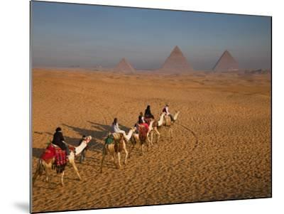 Tourists on Camels and Pyramids of Giza-Richard l'Anson-Mounted Photographic Print