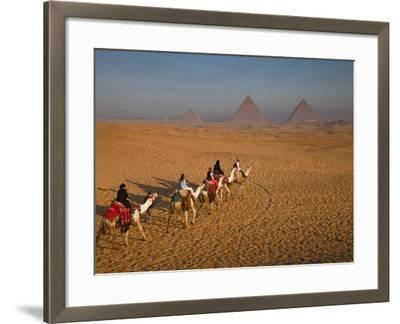 Tourists on Camels and Pyramids of Giza-Richard l'Anson-Framed Photographic Print