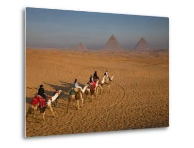 Tourists on Camels and Pyramids of Giza-Richard l'Anson-Metal Print