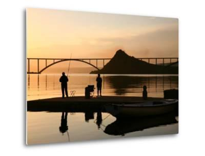 Couple Fishing from Stone Pier with Krk Bridge Joining Krk Island to Mainland-Ruth Eastham & Max Paoli-Metal Print