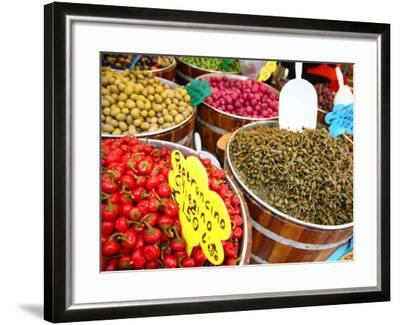 Barrels of Olives for Sale at Market Stall Along Bellini Street-Ruth Eastham & Max Paoli-Framed Photographic Print