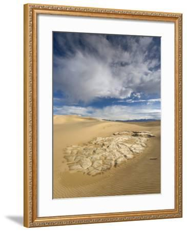 Huge Cumulus Cloud over Eroded and Cracked Clay Formation at Mesquite Flat Sand Dunes-Witold Skrypczak-Framed Photographic Print