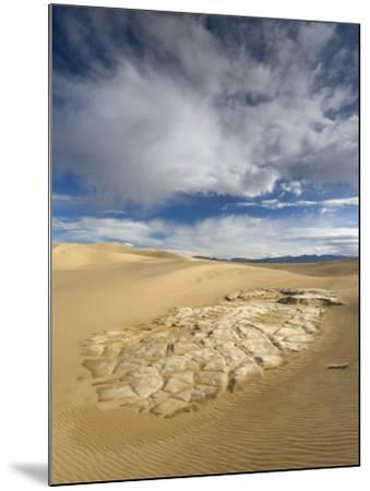 Huge Cumulus Cloud over Eroded and Cracked Clay Formation at Mesquite Flat Sand Dunes-Witold Skrypczak-Mounted Photographic Print