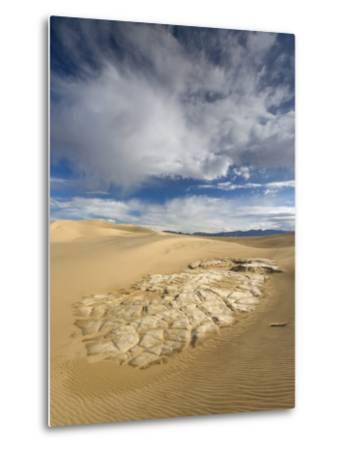 Huge Cumulus Cloud over Eroded and Cracked Clay Formation at Mesquite Flat Sand Dunes-Witold Skrypczak-Metal Print
