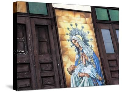 Mary and Jesus Religious Mural Next to Catedral De San Juan (San Juan Cathedral)-Rachel Lewis-Stretched Canvas Print