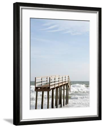 Boardwalk Which Used to Cross over a Sand Dune Which No Longer Exists Due to Hurricane Ida-Peter Ptschelinzew-Framed Photographic Print