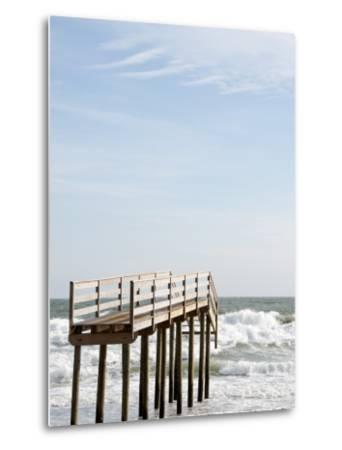 Boardwalk Which Used to Cross over a Sand Dune Which No Longer Exists Due to Hurricane Ida-Peter Ptschelinzew-Metal Print
