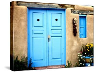 Blue Door on Adobe Building-Ray Laskowitz-Stretched Canvas Print