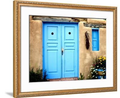 Blue Door on Adobe Building-Ray Laskowitz-Framed Photographic Print