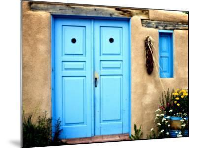 Blue Door on Adobe Building-Ray Laskowitz-Mounted Photographic Print