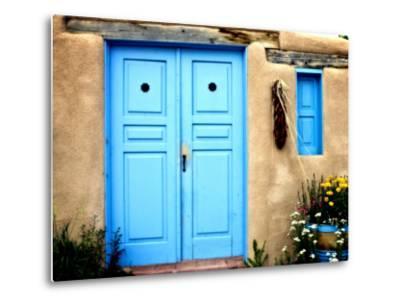 Blue Door on Adobe Building-Ray Laskowitz-Metal Print