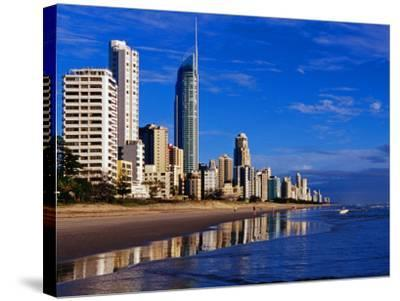 Hi-Rise Apartment Buildings and Surfers Paradise Beach-Richard l'Anson-Stretched Canvas Print