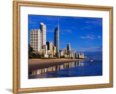 Hi-Rise Apartment Buildings and Surfers Paradise Beach-Richard l'Anson-Framed Photographic Print