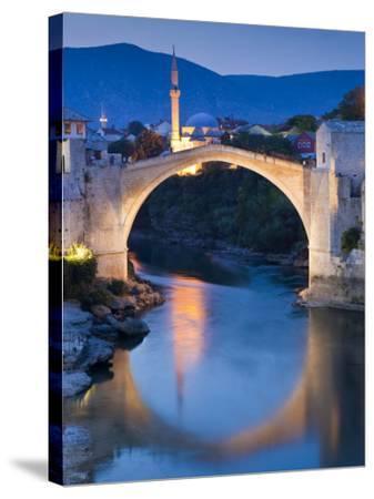 Stari Most or Old Bridge over Neretva River at Dusk-Richard l'Anson-Stretched Canvas Print