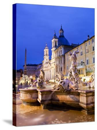 Fontana Del Nettuno (Neptune Fountain) and Church of Sant'Agnese in Agone at Piazza Navona-Richard l'Anson-Stretched Canvas Print