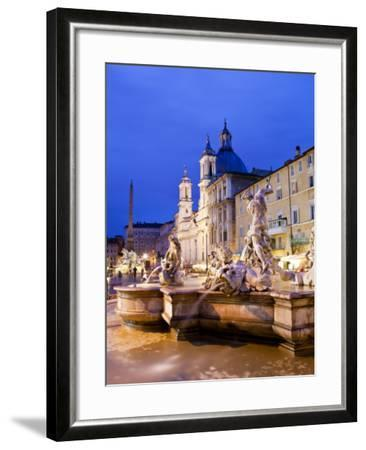 Fontana Del Nettuno (Neptune Fountain) and Church of Sant'Agnese in Agone at Piazza Navona-Richard l'Anson-Framed Photographic Print