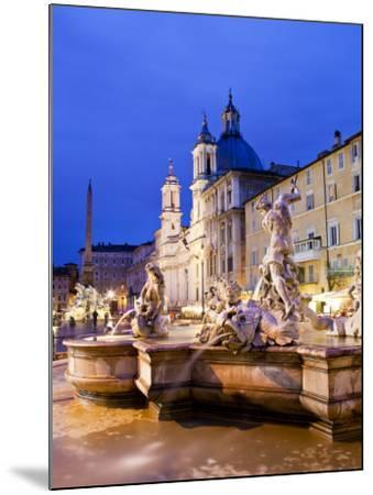 Fontana Del Nettuno (Neptune Fountain) and Church of Sant'Agnese in Agone at Piazza Navona-Richard l'Anson-Mounted Photographic Print