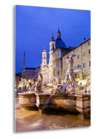 Fontana Del Nettuno (Neptune Fountain) and Church of Sant'Agnese in Agone at Piazza Navona-Richard l'Anson-Metal Print