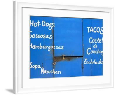Locked Food Stall with Items for Sale Advertised on Front-Richard Cummins-Framed Photographic Print