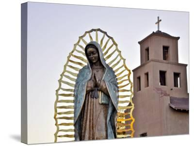 Mother Mary Sculpture with Church Belltower in Background-Ray Laskowitz-Stretched Canvas Print