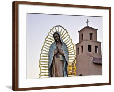 Mother Mary Sculpture with Church Belltower in Background-Ray Laskowitz-Framed Photographic Print