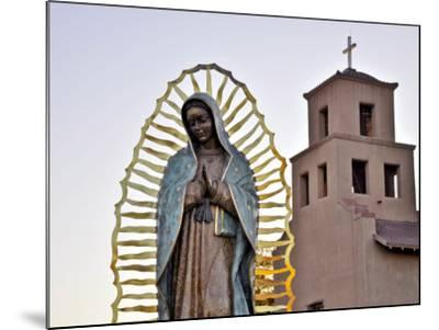 Mother Mary Sculpture with Church Belltower in Background-Ray Laskowitz-Mounted Photographic Print