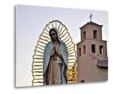 Mother Mary Sculpture with Church Belltower in Background-Ray Laskowitz-Metal Print