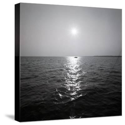 Distant Boat on Ocean-George Marks-Stretched Canvas Print