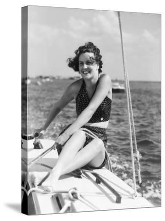 Woman in Swimsuit, on Sailing Boat, Holding Rope, Smiling-H^ Armstrong Roberts-Stretched Canvas Print
