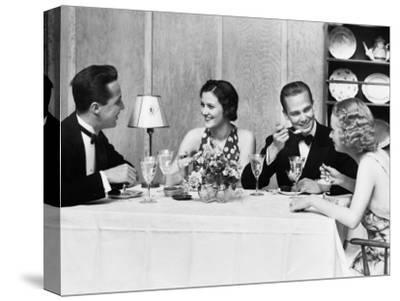 Two Couples Wearing Formal Dress, Sitting at Table Eating and Talking-H^ Armstrong Roberts-Stretched Canvas Print