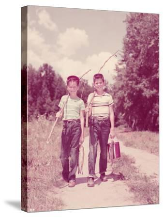 Two Boys Walking Down Lane, Carrying Twig Fishing Poles-H^ Armstrong Roberts-Stretched Canvas Print