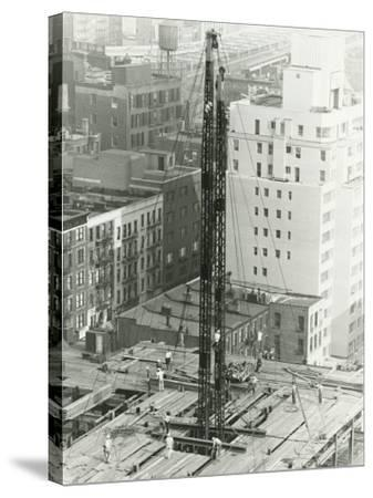 Workers on Building Site on Urban Setting, Elevated View-George Marks-Stretched Canvas Print