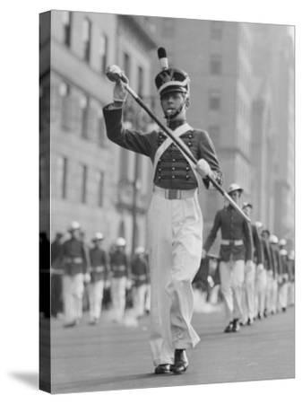 Drum Major Leading Parade in Old-Fashioned Uniforms-George Marks-Stretched Canvas Print