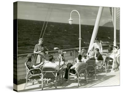 People Having Drinks on Deck of Cruise Ship-George Marks-Stretched Canvas Print