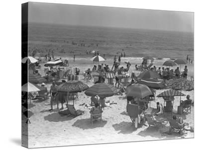 People Relaxing on Beach, Elevated View-George Marks-Stretched Canvas Print