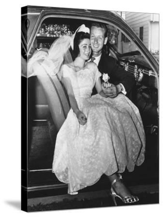 Bride and Groom Posing in Car, Portrait-George Marks-Stretched Canvas Print